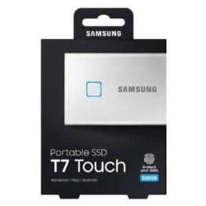 Samsung T7 Touch Portable SSD 500GB,USB3.2, Type-C, R/W(Max) 1,050MB/s, Aluminium Case, Fingerprint Password Security, Silver, 3 Years Warranty (MU-PC500S/WW)